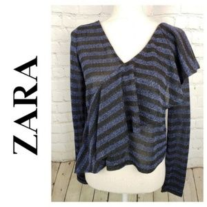 Zara Trafaluc Blouse Metallic Striped Ruffle Top L